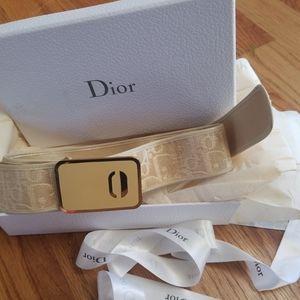 Auth. VINTAGE Christian Dior Trotter belt beige